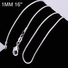 New Women Jewelry 925 silver Plated 1MM Snake Solid Fashion Chain Link Necklace