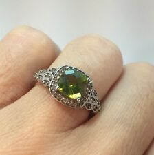 Sterling Silver Peridot CZ Green Multi Gemstone Cocktail Halo Pave Ring 7 1/4