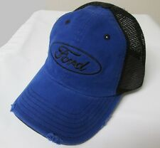 FORD OVAL LOGO DISTRESSED BLUE AND BLACK MESH HAT
