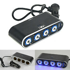 4 Way Car Charger Cigarette Lighter Socket USB Port Splitter 12V Power Adapter