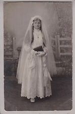 Beautiful Antique RPPC: Girl In Stunning Communion Dress - Long Hair, Veil