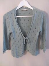 NANETTE LEPORE Embroidery Trim Cropped Wool Cardigan Sweater Size L
