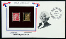 THOMAS JEFFERSON Great Americans on United States Stamps FDC & 24k GOLD REPLICA