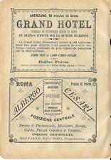 Stampa antica pubblicità HOTEL di Arenzano e di Roma 1899 Old antique print