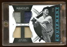2015 IMMACULATE LOU GEHRIG #D 4/5 QUAD PATCH/PATCH/JERSEY/BAT GAME USED  1/1 HOF