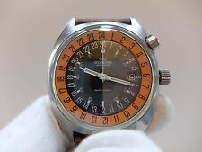 VINTAGE GLYCINE AIRMAN SST MILITARY 24 HOUR ORANGE DIAL WATCH (WATCH THE VIDEO)