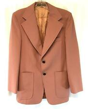 vintage 70s mens peach WARREN SEWELL blazer jacket knit retro disco XS S 36 R