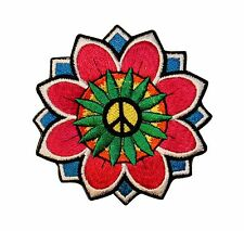 Peace Sign Daisy Flower Hippie Embroidered Iron On Applique Patch