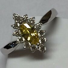 Marquise 1ct Yellow Sapphire  925 Solid Sterling Silver Solitaire Ring sz 8