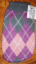 NEW Size Medium Purple Grey Argyle Turtleneck Scarf Dog Sweater Dog Clothes