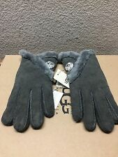 UGG BAILEY BLING SWAROVSKI CRYSTAL GRAY GREY SHEARLING SUEDE GLOVES sz L - NWT
