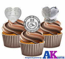 12 X 25th Wedding Anniversary Silver Heart Mix EDIBLE CAKE TOPPERS STAND UPS