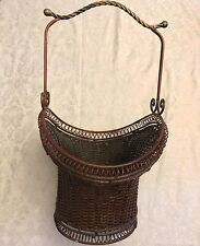 "Large 24"" WICKER & WROUGHT IRON BASKET"