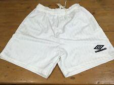 """Vintage 1990s UMBRO football shorts men's 30"""" S White Polyester OG Sports NoS"""