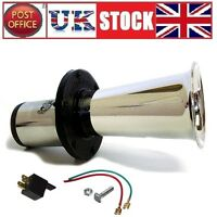 12V Car Horn 490Hz 110dB Loud Big Silver Trumpet plus Relay and Cable Klaxon
