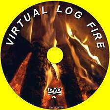 VIRTUAL REAL LOG FIRE ON ANY PLASMA LCD TV/PC ON DVD 9 COSY REALISTIC SCENES NEW
