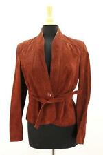 Vintage 70s Womens Suede Leather Moto Jacket Boho Belted Burnt Brown Small