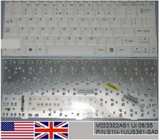 Clavier Qwerty US Int MSI Wind U100 U110 V022322AS1 S1N-1UUS381-SA0 Blanc/White