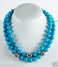 Simon Sebbag Sterling Silver 2string turquoise howlite beads necklace NB638/TQH2