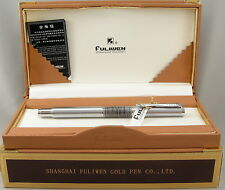 Fuliwen Flying Leopard Stainless Steel Faceted Fountain Pen - 10kt Nib - New
