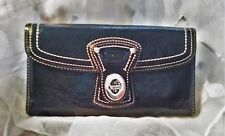 Coach Trifold Navy Blue Patent Leather Silver Tone Twist Lock Checkbook Wallet