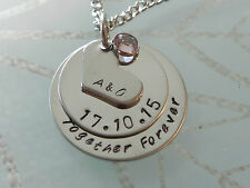 Personalised Hand Stamped Anniversary Gift Or 50th 60th Birthday Pendant