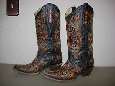 Corral Women's Laser Pink Inlay Cowboy Boots Snip Toe SZ 8M
