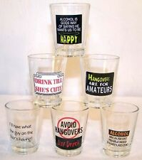 6 funny SHOT GLASSES W NOVELTY SAYINGS party items kitchen bar drinking shots