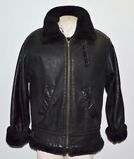 LEATHER BOMBER FLIGHT B3 JACKET BLACK FAUX THICK SHERPA LINING Mens SZ M