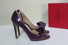 9 / 39.5 Valentino Couture Bow d'Orsay Purple Patent Leather Platform Pump Shoes