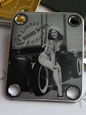 Chrome Engraved HotRod Pin Up Guitar Neck Plate  fits Fender tele/strat/squier