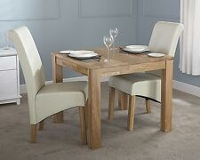 Solid oak dining table 90cm fixed wood square small table