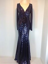 Goddiva Navy Sequin long Chiffon Sleeve Maxi Dress Evening Formal Ballgown UK 22