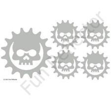 Silver Skull Cog Bicycle Reflective Stickers Decals