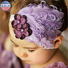 Baby Flower Feather Elastic Hairband Headband Toddler Girls US Stock (Purple)