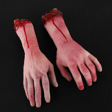1Pair Realistic Cut Off Bloody Fake Latex Lifesize Arm Hand Scary Halloween Prop