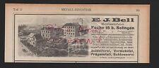 FOCHE SOLINGEN, Werbung 1908, E. J. Bell Metallwarenfabrik Schleiferei