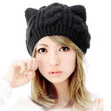 Winter Hat Women's Warm Cap Cat Ears Hemp Flowers Knitted Hat Cute Girls Caps