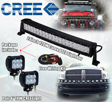 20 inch 120W Curved LED Light Bar + 2X 4inch CREE Led Work Light Truck Jeep Ford