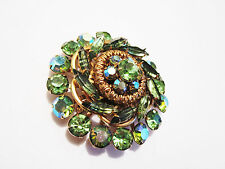 Vintage JULIANA Brooch Beautiful Green Chatons and Navettes