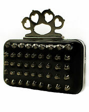 TOO FAST LADIES HARD CLUTCH BAG SUICIDAL CONE STUDS BLACK & SILVER  (B10C)