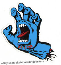 Santa Cruz Screaming Hand Skateboard Sticker Blue - Jim Phillips skate 15cm