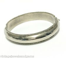 ART DECO .925 STERLING SILVER Vtg Hinged Clamper Cuff Bangle Statement Bracelet