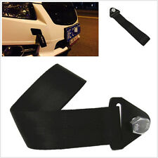 HIGH STRENGTH RACING TOW STRAP SET FOR FRONT/REAR BUMPER NUT HOOK TRUCK BLACK