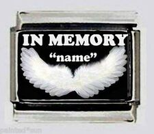 IN MEMORY OF ANY NAME With ANGEL WING ON A 9mm Italian Photo Charm for Bracelets
