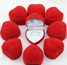 10 Velvet Heart Ring Show Display Box Jewellery Earring Brooch Storage Case dsuk