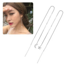 Women Fashion Star Moon Shaped Long Chain Ear Drop Dangle Earrings Jewelry 2pcs