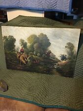OLD / EARLY ANTIQUE SIGNED L. BERTON OIL ON CANVAS LANDSCAPE & SHEEP PAINTING