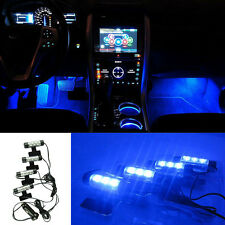 4 PIEZAS 3 LED coche Carga 12V Luces Brillo Interior Decorativo 4en1 Azul