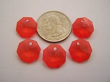 38 pcs Bright Cherry Red Multi Faceted Octagon Acrylic Drop Beads / Pendants